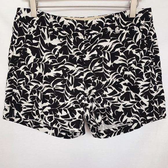 J. Crew Pants - J. Crew Black and White Leaves Print Chino Shorts